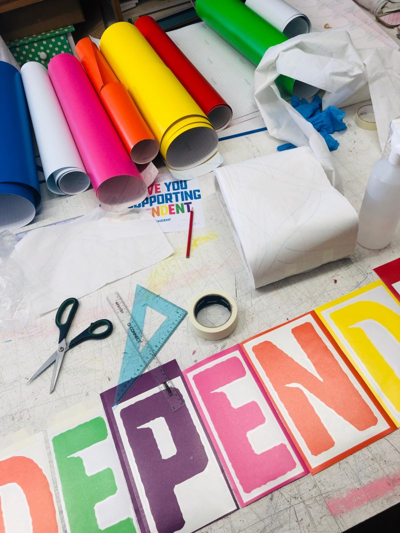 Visual merchandising studio with colourful vinyl letters